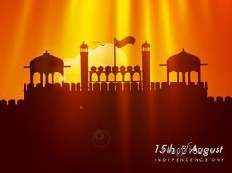 Creative illustration of Red Fort in spotlight for 15th of August, Indian Independence Day celebration.