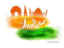 Happy Republic Day celebration background with Indian Famous Monuments, Ashoka Wheel and Flag Colors brush strokes.