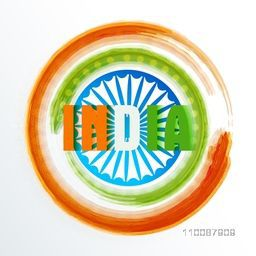 Indian National Tricolor Text India on Ashoka Wheel background, Creative Poster, Banner or Flyer design for Republic Day celebration.