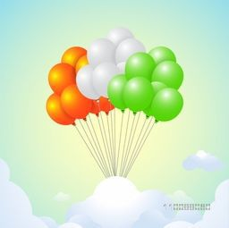 Glossy National Flag Colours Balloons flying on cloudy background for Happy Indian Republic Day Celebration.