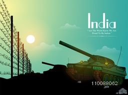 Illustration of a Military Tank on border for Happy Indian Republic Day Celebration.