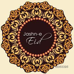 Jashn-e-Eid (Celebration of Eid festival) text on floral decorated background for muslim community festival celebration.