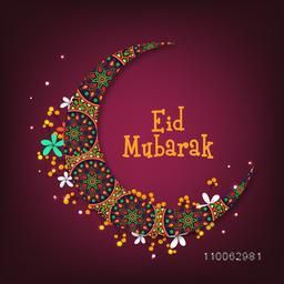 Beautiful artistic floral pattern decorated crescent moon for Islamic festival, Eid Mubarak celebration.