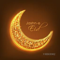 Glossy creative crescent moon with text Jashn-e-Eid on shiny brown background for muslim community festival celebration.
