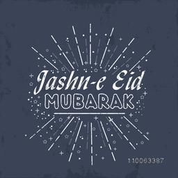 Jashn-e-Eid Mubarak celebration greeting card or invitation card design with creative fireworks.
