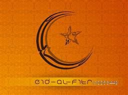 Creative arabic calligraphy text Eid-al-Fitr in moon and star shape on seamless orange background for muslim community festival celebration.