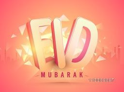3D text Eid Mubarak on shiny abstract mosque silhouette background for muslim community festival celebration.
