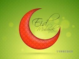 Creative glossy red crescent moon on shiny green background for muslim community festival, Eid Mubarak celebration.