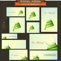Social media and marketing post, headers, banners or ads for muslim community festival, Eid celebration.