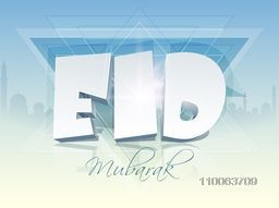 3D glossy text Eid Mubarak on abstract mosque silhouetted background for muslim community festival celebration.