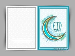 Beautiful greeting card design decorated with creative crescent moon for Islamic holy festival, Eid Mubarak, celebration.