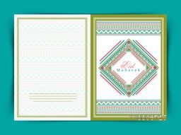 Beautiful floral design decorated greeting card for famous festival of Muslim community, Eid Mubarak celebration.