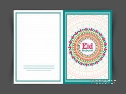Colorful floral design decorated beautiful greeting card for famous festival of Muslim community, Eid Mubarak celebration.