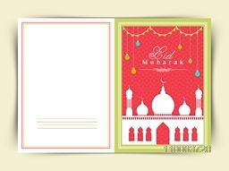 Beautiful greeting card design with shiny white mosque, hanging lights and bunting decoration for Islamic holy festival, Eid Mubarak celebration.