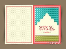 Creative greeting card design with Arabic Islamic calligraphy of text Eid Mubarak for holy festival of Muslim community celebration.
