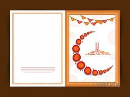 Elegant greeting card with creative crescent moon made by spirals and Arabic calligraphy of text Eid Mubarak for Islamic holy festival, celebration.