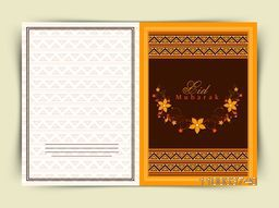 Beautiful flowers decorated greeting card design for famous festival of Muslim community, Eid Mubarak celebration.