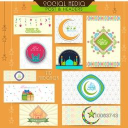 Social media post and header set with various Islamic elements on hanging stars decorated background for holy festival of Muslim community, Eid Mubarak celebration.