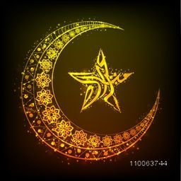 Beautiful floral design decorated golden crescent moon and Arabic calligraphy of text Eid Mubarak in glowing star shape on brown background for Muslim community festival celebration.