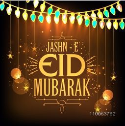 Beautiful greeting card decorated with glowing lights and hanging stars on shiny brown background for famous festival of Muslim community, Jashn-E-Eid Mubarak celebration.