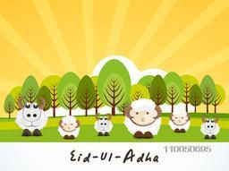 Illustration of childish sheep family in forest with stylish text on beautiful nature background.