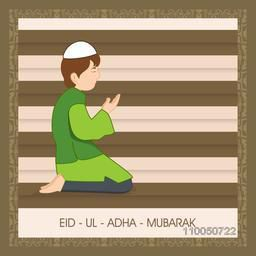 Illustration of a muslim boy wearing traditional islamic clothes and reading namaz with stylish text on retro background.