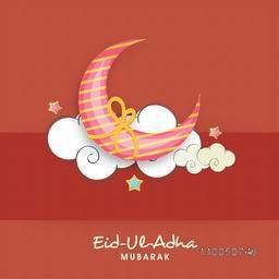 Illustration of a colourful moon binding with golden rope infront of white sky with stars and stylish text.