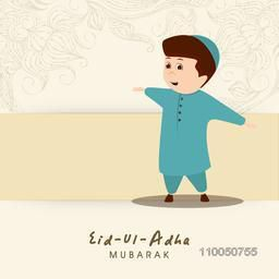 Illustration of a boy wearing traditional muslim dress and enjoying the festival with stylish text and flower decoration.