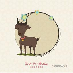 Illustration of a goat wearing a golden bell with rounded frame and blank space for your message with stylish text on seamless background.