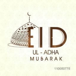 Illustration of a half upper part of decorated mosque with Eid-Ul-Adha wishing text on floral decorated background.