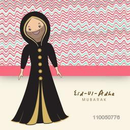 Illustration of a smiling muslim lady wearing black decorated naqab with stylish text on seamless colourful background.