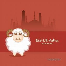 Cute Baby Sheep with stylish text of Eid-Ul-Adha and silhouette of Mosque inside on red background.