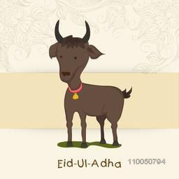 Kiddish style of brown goat wearing golden bell with red ribbon and stylish text of Eid-Ul-Adha on floral decorated background.