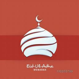 Illustration of upper part of mosque with moon and stylish text of Eid-Ul-Adha mubarak on red background.