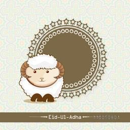 Beautiful decorated frame with Baby sheep and stylish text of Eid-Ul-Adha on seamless background.