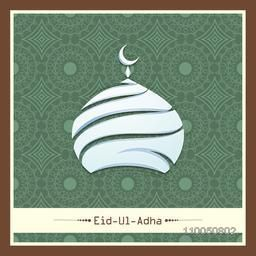 Illustration of upper part of mosque with moon and stylish text of Eid-Ul-Adha mubarak on floral decorated background.
