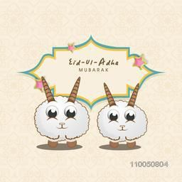 Cute little and funny two Baby sheep with a decorated frame of Eid-Ul-Adha on floral decorated background.