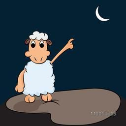Kiddish sheep pointed its finger to the crescent moon in night view.