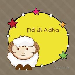 Rounded star decorated frame with baby sheep and stylish text Eid-Ul-Adha on linen background.