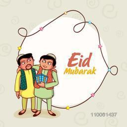 Happy islamic men hugging and giving gifts to each other on occasion of muslim community festival, Eid Mubarak celebration, can be used as greeting or invitation card design.