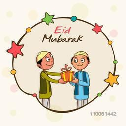 Cute kids celebrating and giving gifts to each other on occasion of muslim community festival, Eid Mubarak celebration.