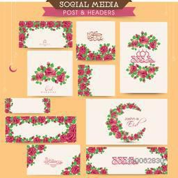 Beautiful rose flowers decorated social media ads, post and header set with Arabic calligraphy for Muslim community festival, Eid celebration.