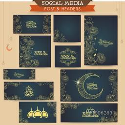 Floral design decorated social media post and header set with various Islamic elements for Muslim community festival, Eid celebration.