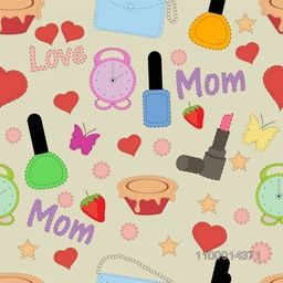 Creative background with different colorful elements for Mother's Day celebration.
