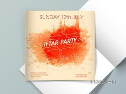 Holy month of muslim community, Ramadan Kareem Iftar party celebration invitation card with illustration of mosque made by orange color splash.