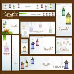 Colorful social media ads, headers or banners with arabic lanterns and muslim holy book Quran Shareef for Ramadan Kareem celebration.