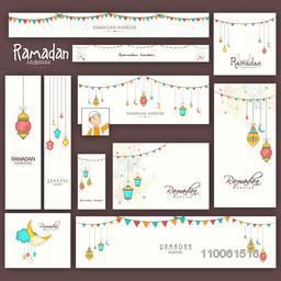 Social media and marketing headers, banners, ads or posts for holy month of muslim community, Ramadan Kareem celebration.