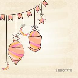 Colorful arabic lamps, moon and stars hanging by rope on stylish beige background for holy month of muslim community, Ramadan Kareem celebration.