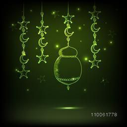 Glossy hanging arabic lamps, stars and moon on shiny green background for holy month of muslim community, Ramadan Kareem celebration.