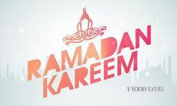 Ramadan Kareem celebration poster, banner or flyer with arabic calligraphy text Ramazan Kareem on mosque silhouette background.